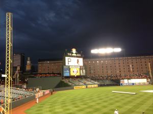 The stormy Baltimore sky during a rain delay in the game.