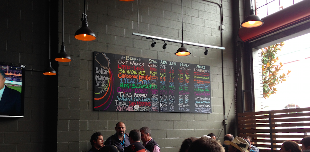 The current offerings in Cellarmaker's SOMA tasting room.